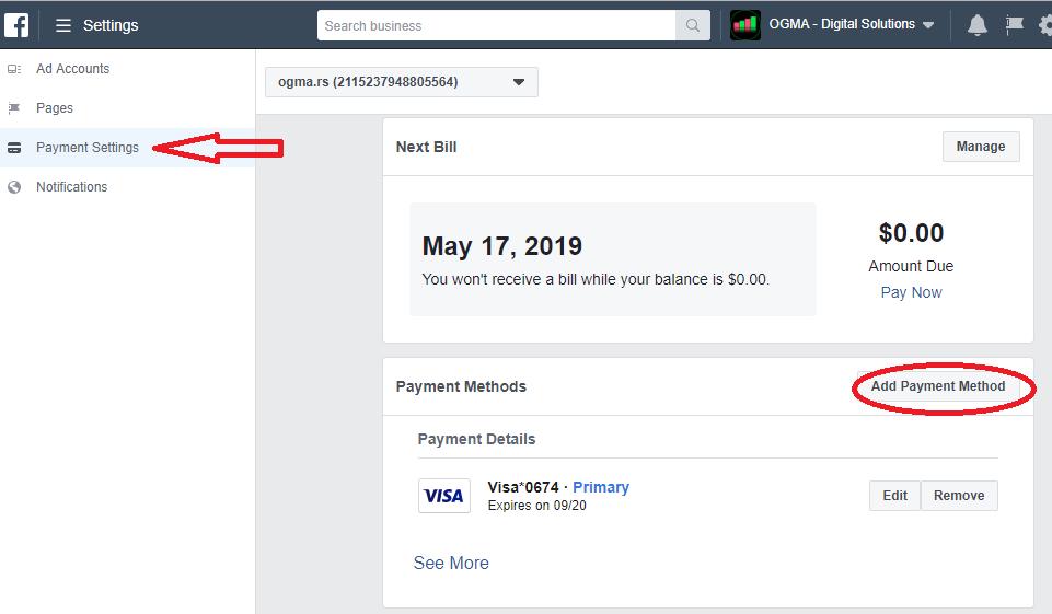 Fejsbuk reklama - dodavanje načina plaćanja na fb nalogu za ooglašavanje